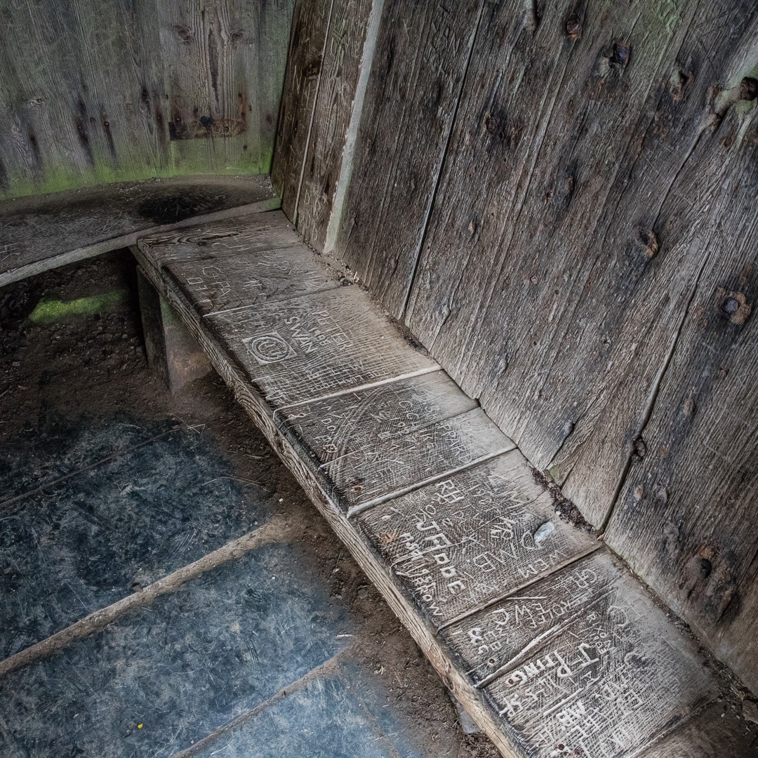 Hawker's Hut interior, built from driftwood and timber retrieved from shipwrecks, Cornwall.