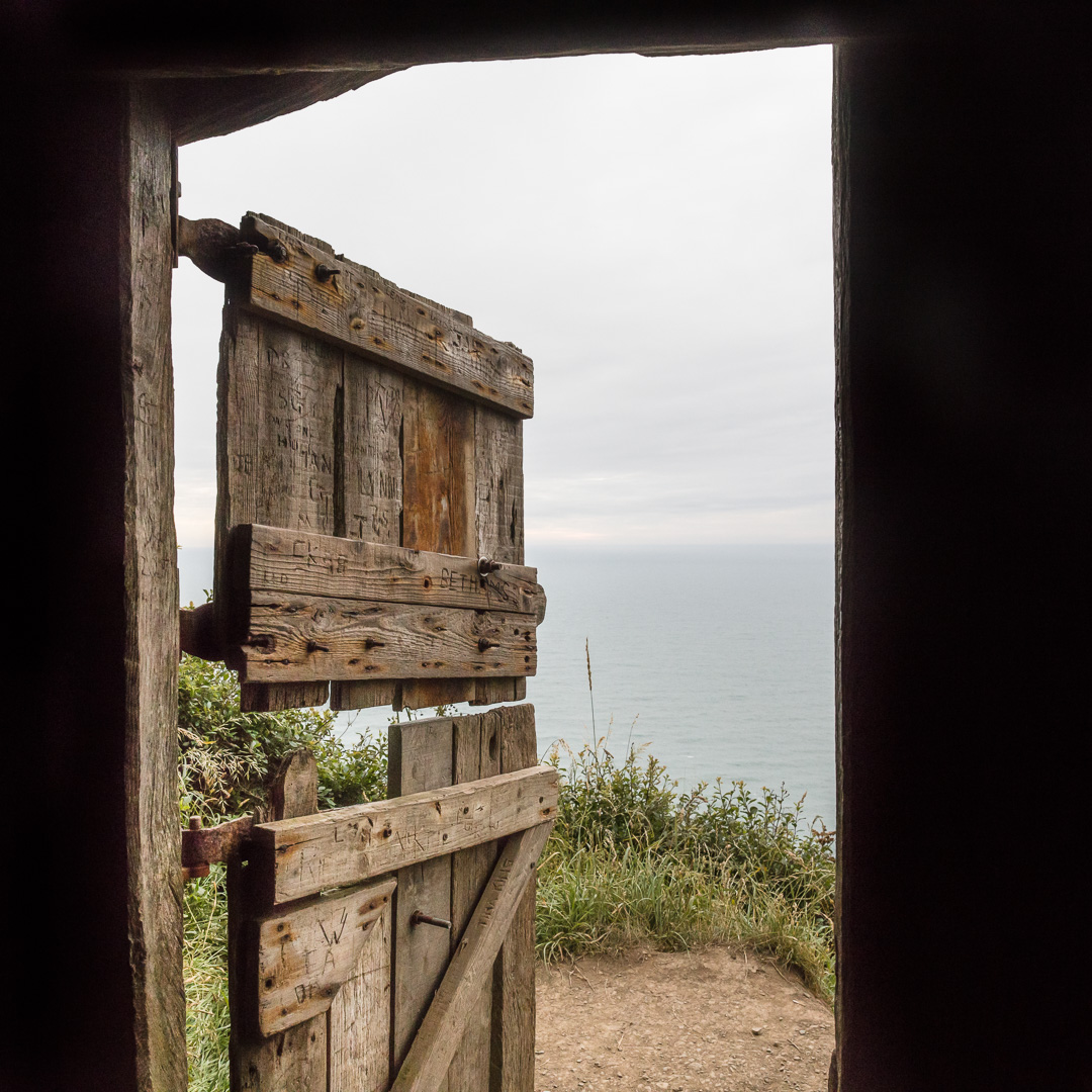 Hawker's Hut, view out to the Atlantic ocean, Cornwall.