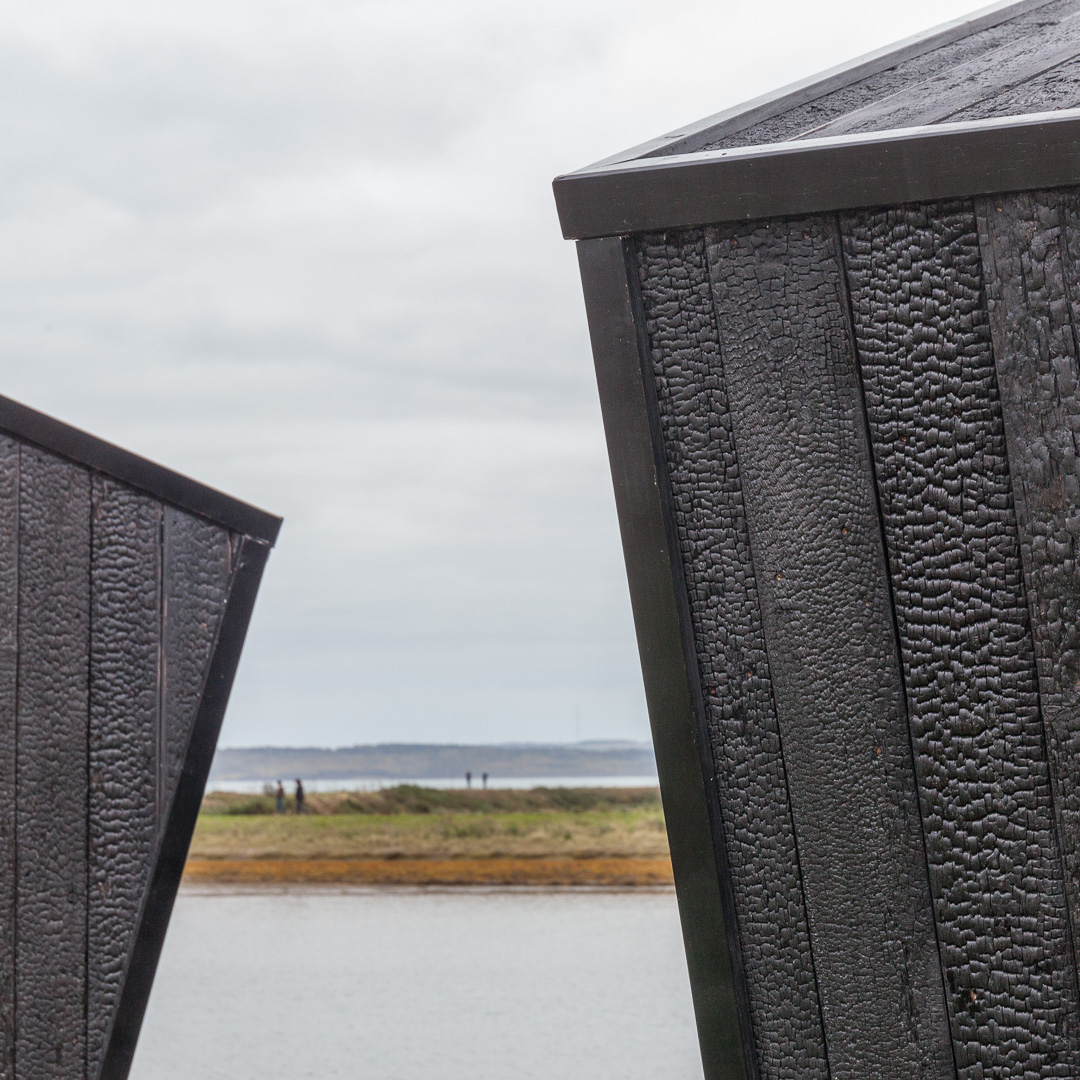 The Observatory, Detail of wood charred cladding (Shou Sugi Ban), Lymington Salt marshes.
