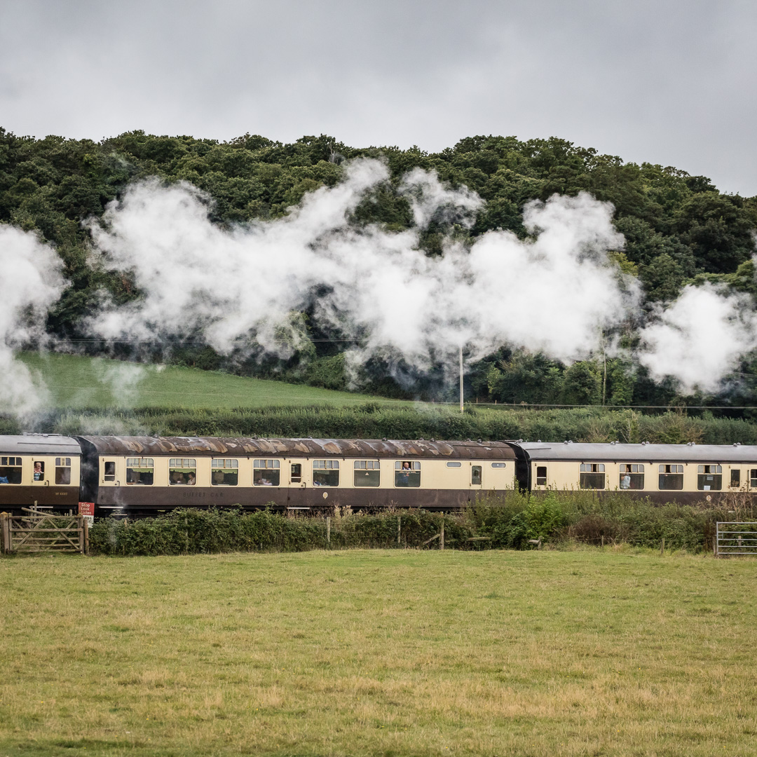 Steam train on the West Somerset Railway, near Minehead, Somerset.