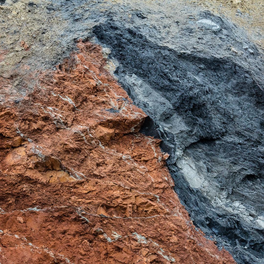 Fault line between red and grey marls, Warren Bay, Somerset.