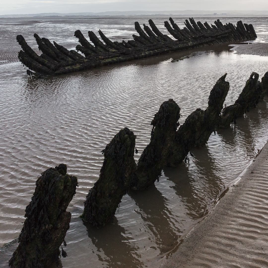 Wreck of the Norwegian barque SS Nornen on Berrow beach from 1897, Somerset.