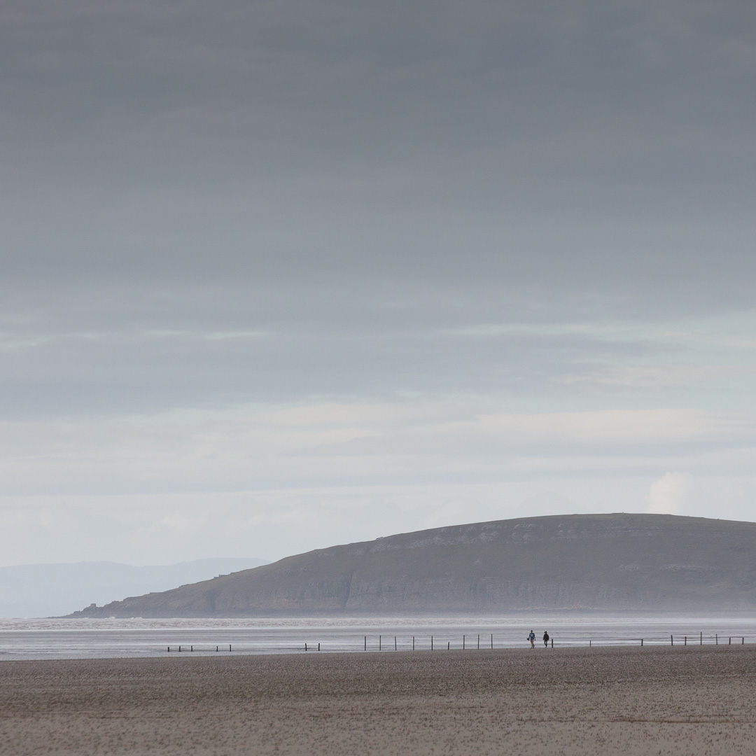 Last light, Brean Down from Berrow Flats, Somerset.