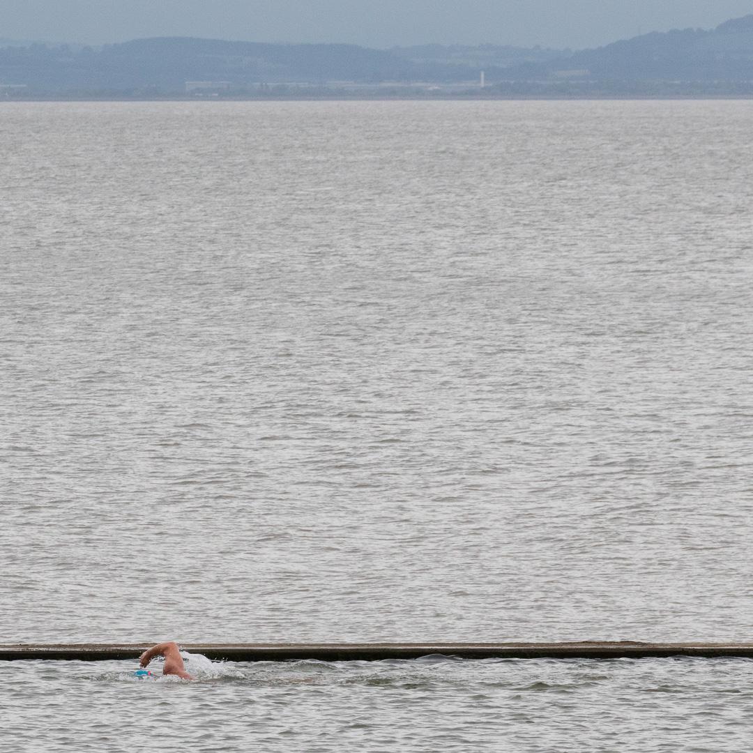 Swimmer, Clevedon Marine Lake, Avon.
