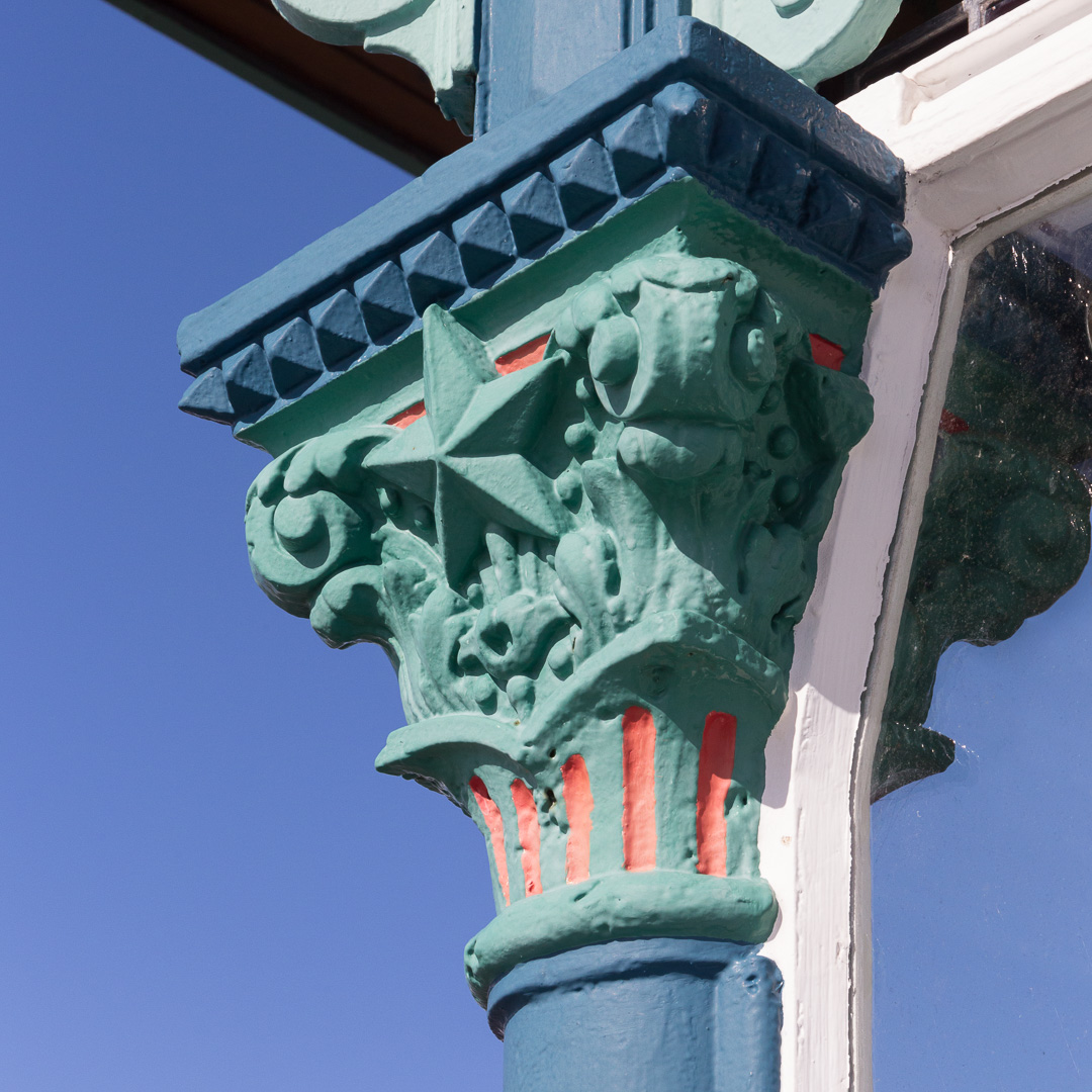 Cast iron capital detail I, Clevedon Pier, Avon.
