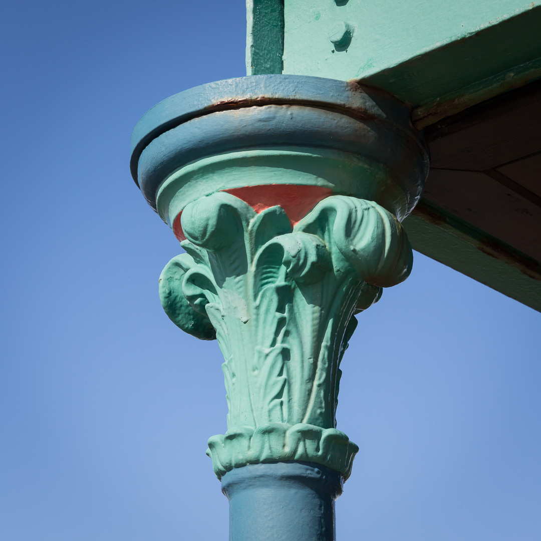Cast iron capital detail II, Clevedon Pier, Avon.