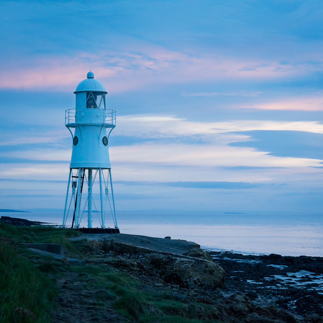 Dusk at Black Nore lighthouse, Portishead, Avon.