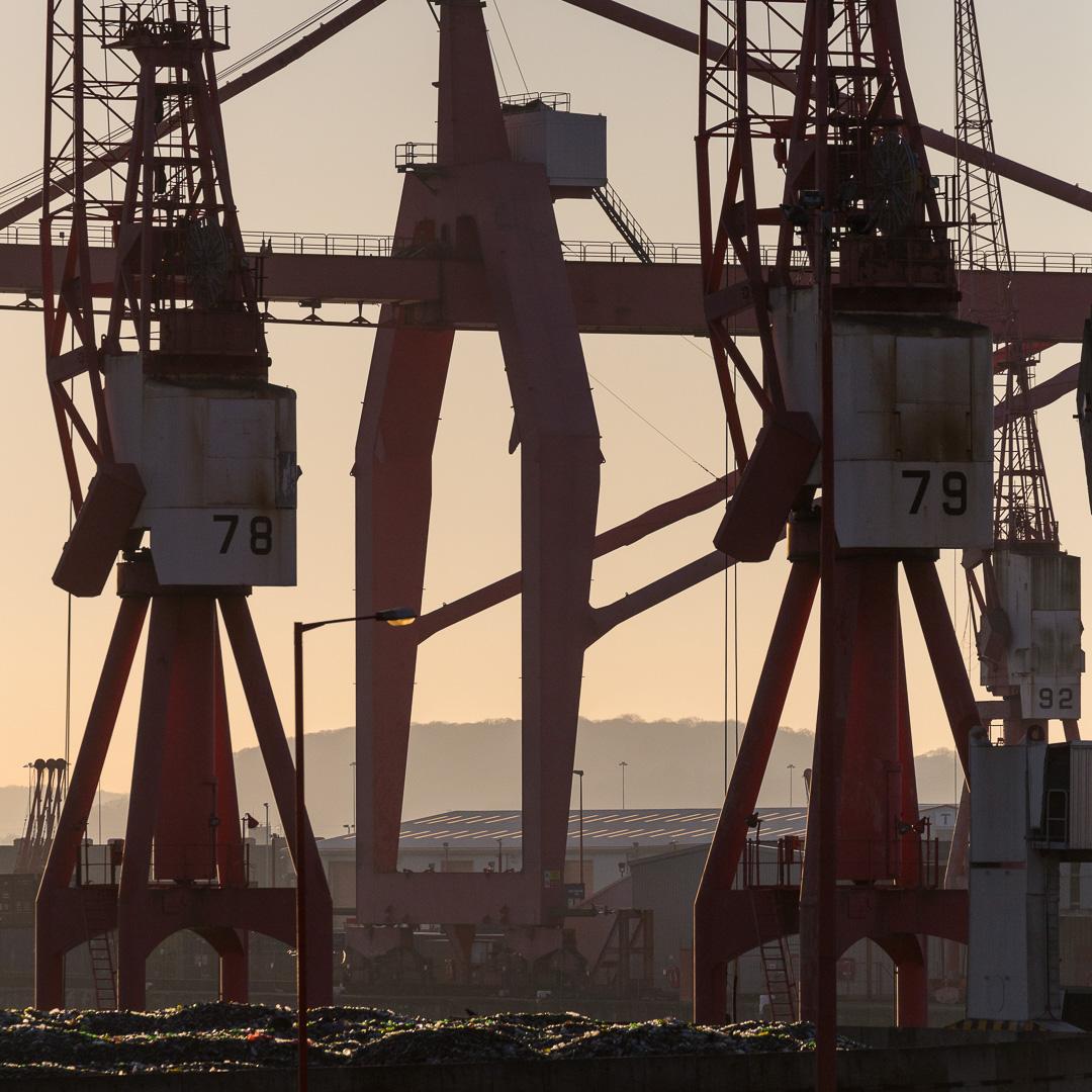 Cranes at Avonmouth Docks, Avon.