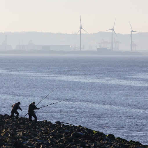 Fishing in the Severn by Avonmouth Docks, Avon.