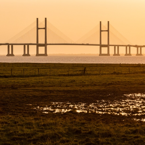 Last light, Second Severn Crossing, Avon.