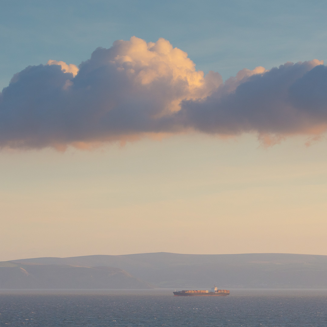 Container ship in the Bristol Channel from Nash Point, Glamorgan.
