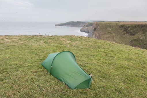 Camp at Cwm Bach Iron Age Promontory Fort, Glamorgan.