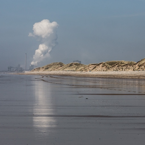 Steam plume, Tata Steelworks and Kenfig burrows, Glamorgan.