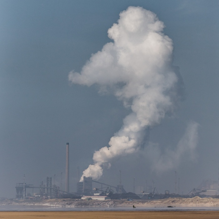 Steam plume, Tata Steelworks from Kenfig Sands, Glamorgan.