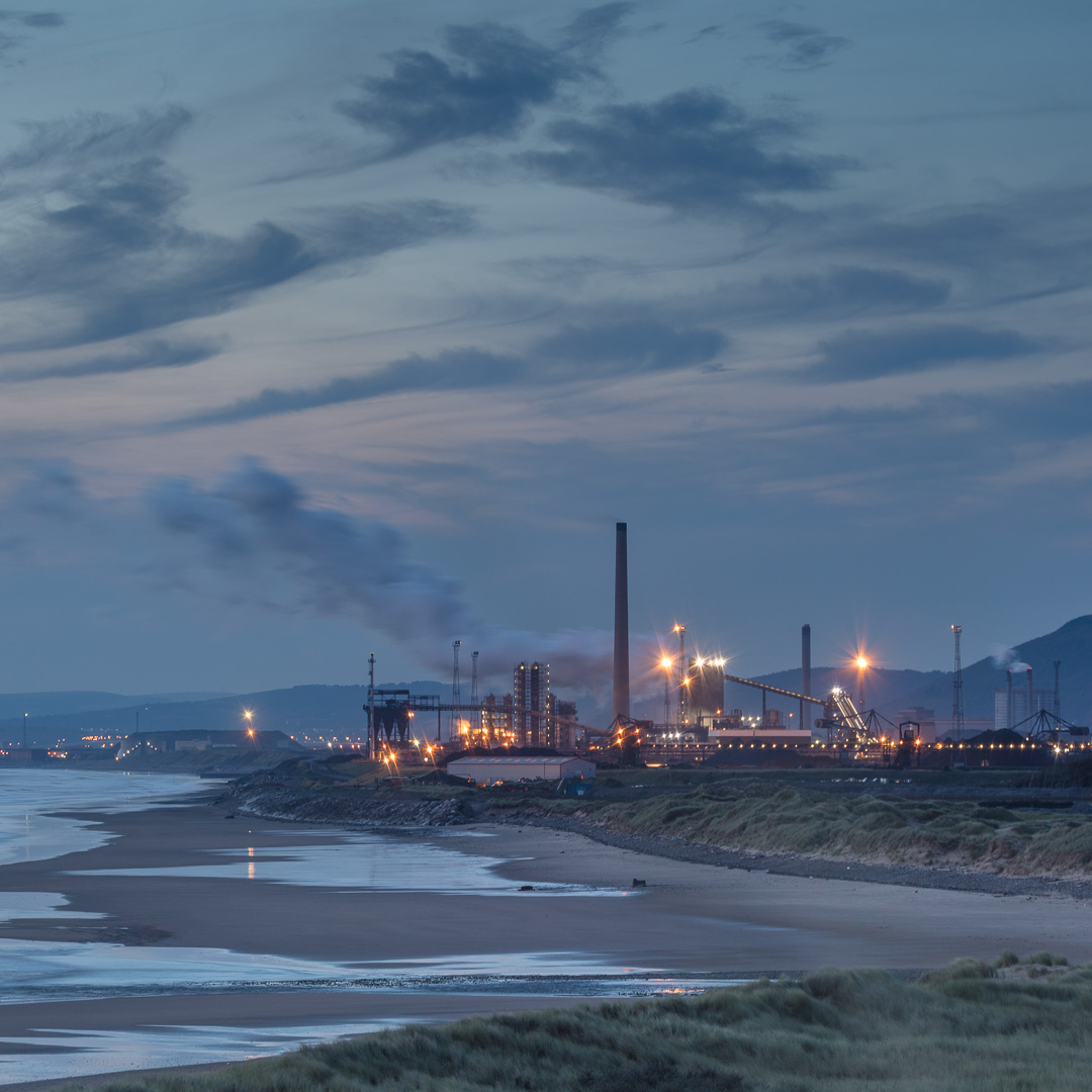 Tata Steelworks at dusk from Kenfig burows, Glamorgan.