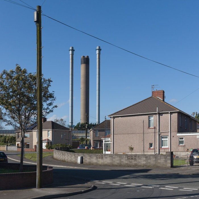 Neighbours II, Margam. Chimneys, Tata Steelworks, Port Talbot, Glamorgan.