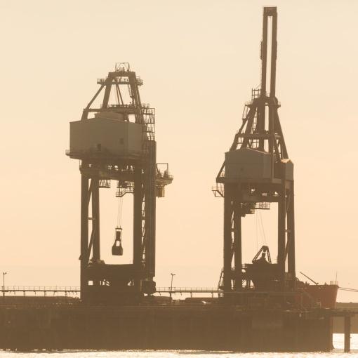 Coal unloading, Tata Steelworks docks, Port Talbot, Glamorgan.