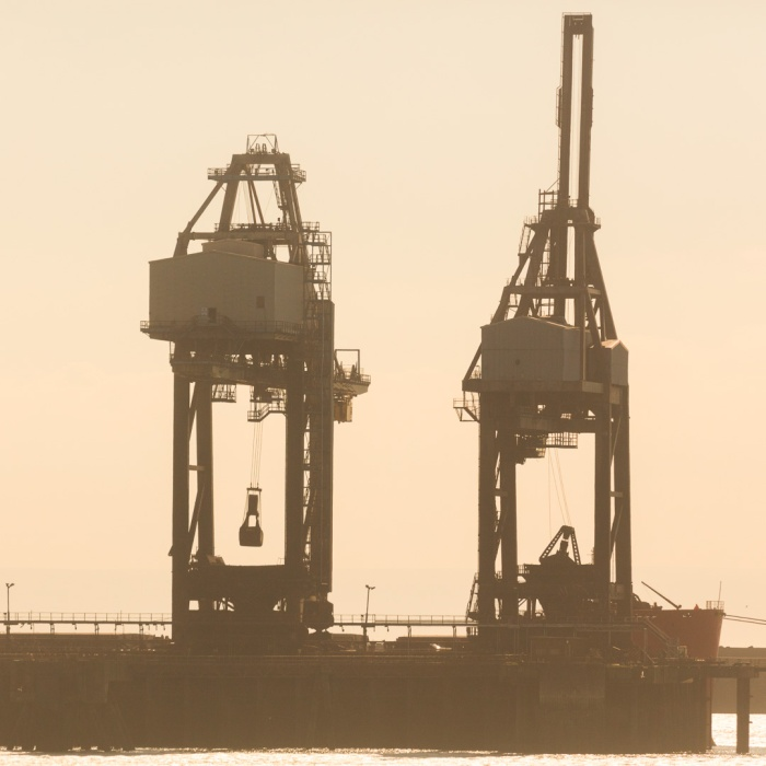 Coal unloading, Tata Steelworks docks, Port Talbot, Glamorgan.