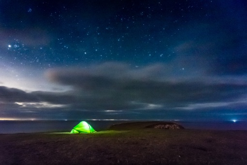 Stars above Camp, Stackpole Head, Dyfed.