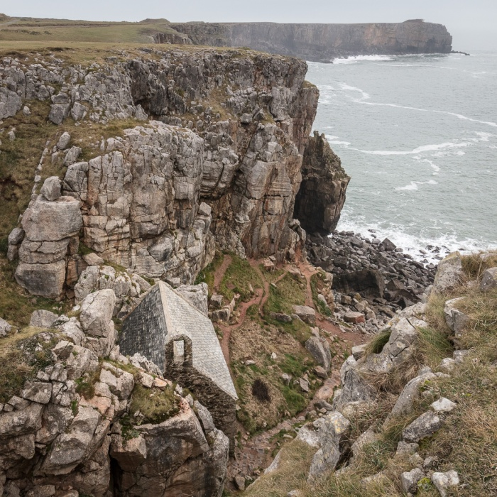 St Govan's Chapel, built above a hermitage cell in the 14th century, Pembrokeshire.