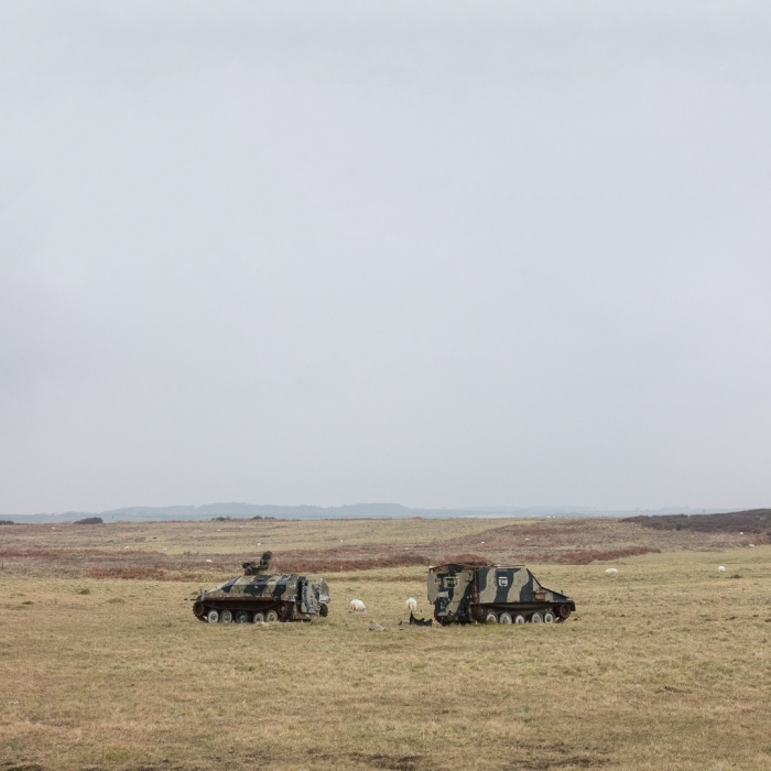 Old Spartan and Sultan armoured personnel carriers used as helicopter targets, Castlemartin range East, Pembrokeshire.