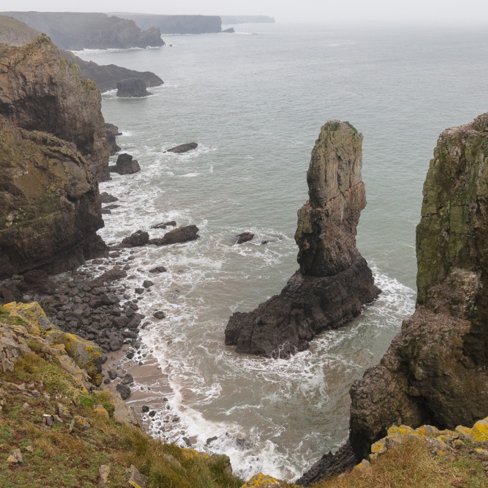 Elegug Stacks and the south Pembrokeshire coast towards Stackpole Head, Pembrokeshire.