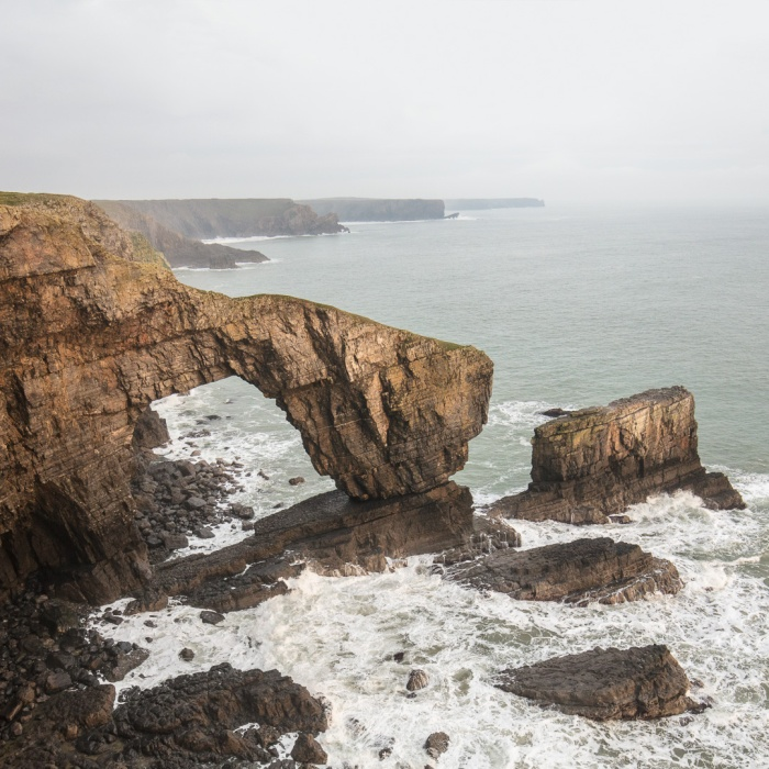 The Green Bridge of Wales, a natural arch formed from Limestone, Pembrokeshire.