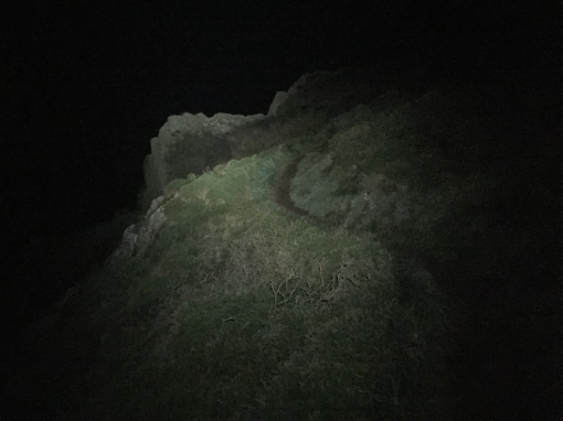 Night hiking above the cliffs of Black Cave, Dyfed.