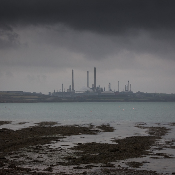 Pembroke Oil Refinery across Angle Bay, Rhoscrowther, Pembrokeshire.
