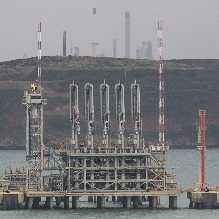 South Hook LNG terminal and jetty, Pembrokeshire.