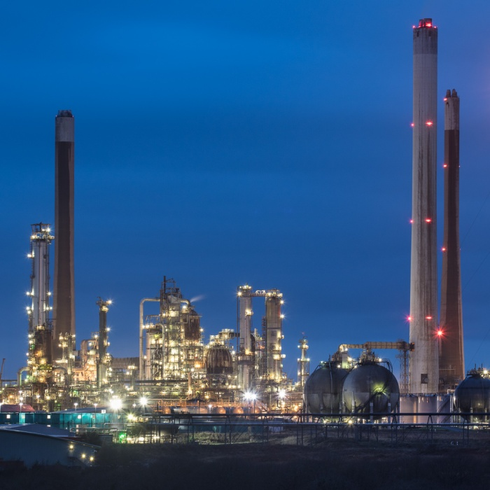 Pembroke Oil Refinery at dusk, Rhoscrowther, Pembrokeshire.