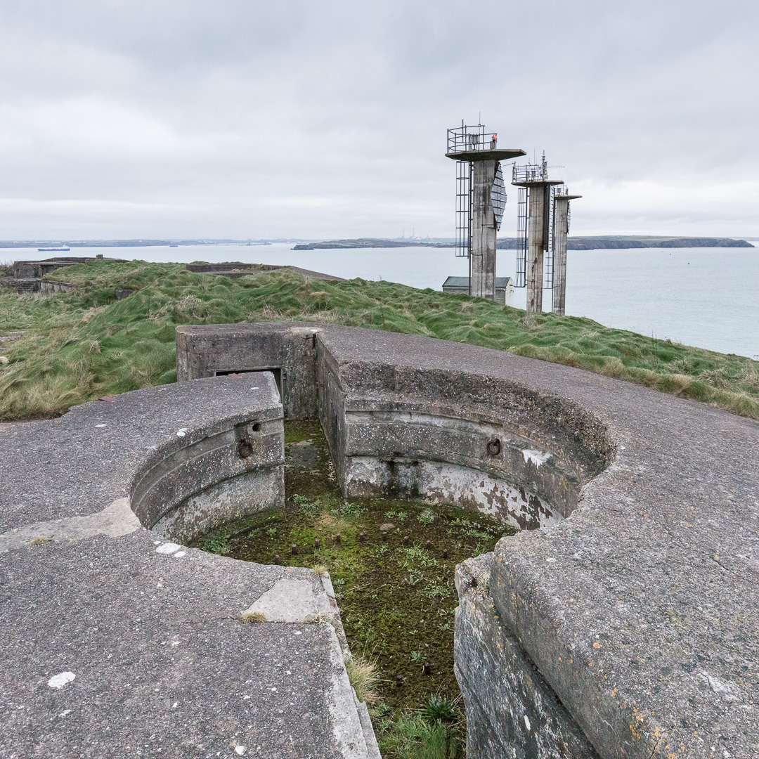 6-inch Coastal Gun Emplacements (active from 1900-1956) adjacent to West Blockhouse Point Beacons, which perform the function of a lighthouse to guide shipping into Milford Haven, Pembrokeshire.