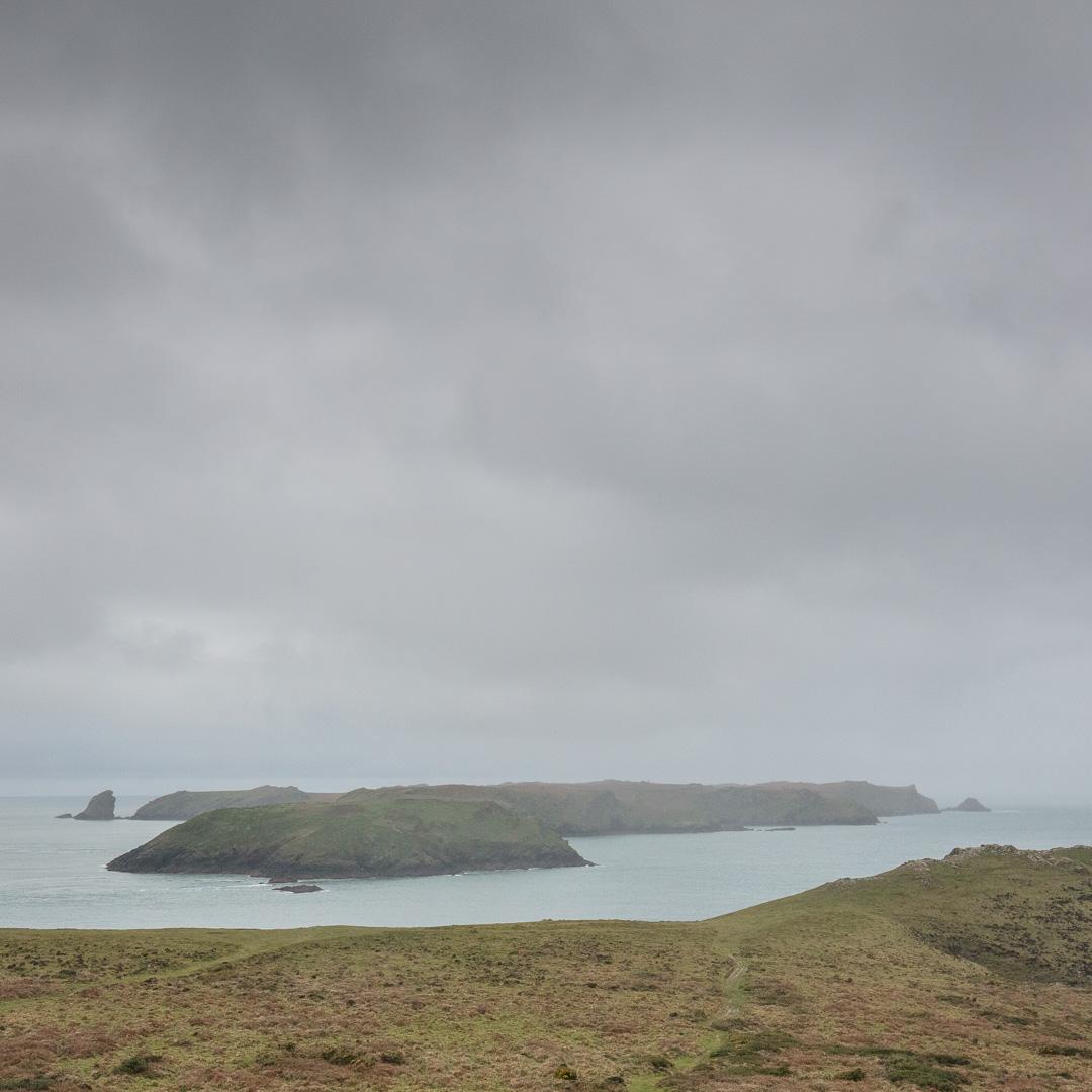 Rain over Skomer Island, Pembrokeshire.