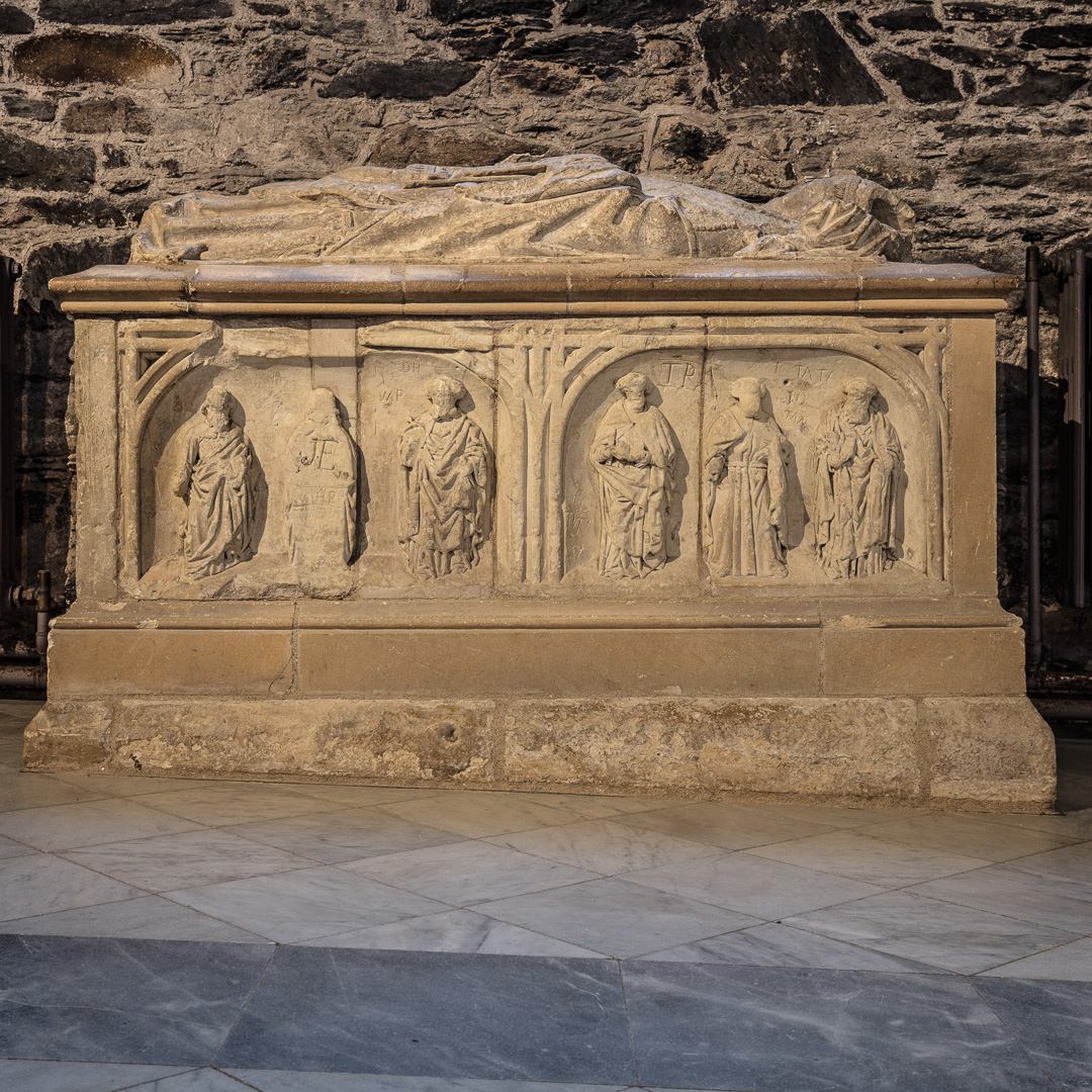 Chest tomb showing incline of nave, St David's Cathedral, Pembrokeshire.