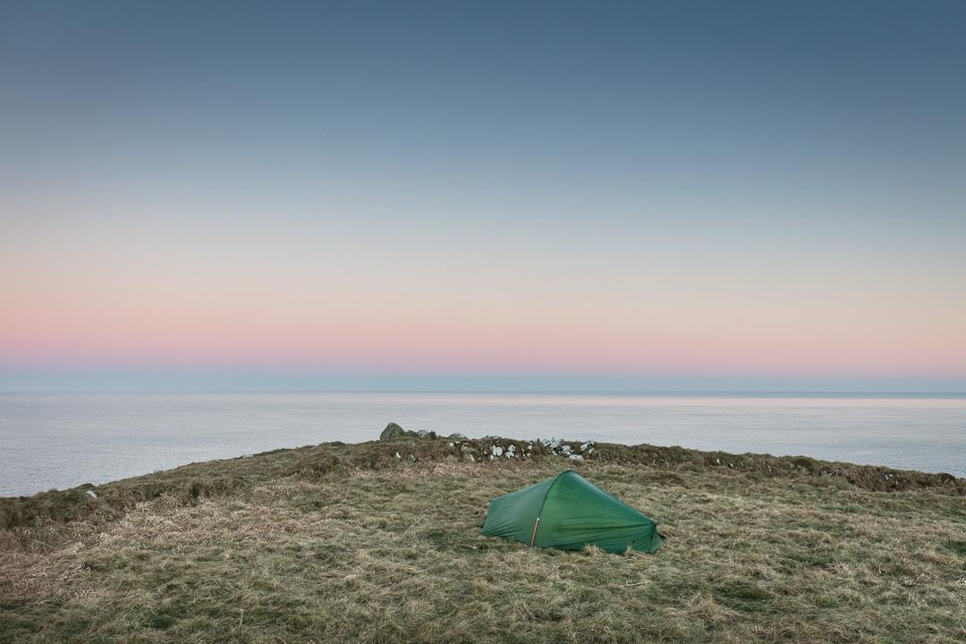 Camp below Carn Perfedd, Porth y Dwfr, Pembrokeshire.