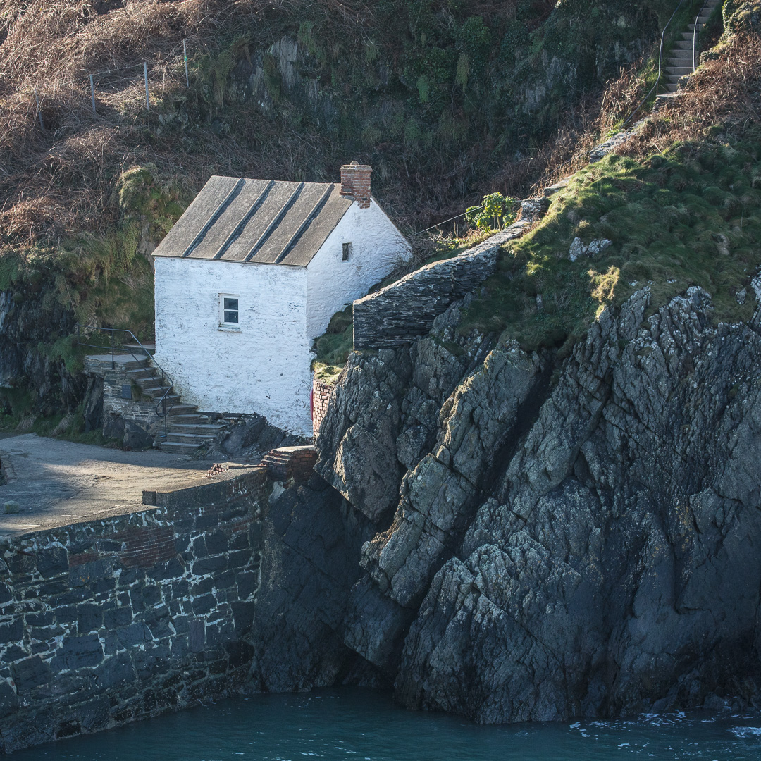 Harbour Master's Office at Porthgain with grouted roof, Pembrokeshire.
