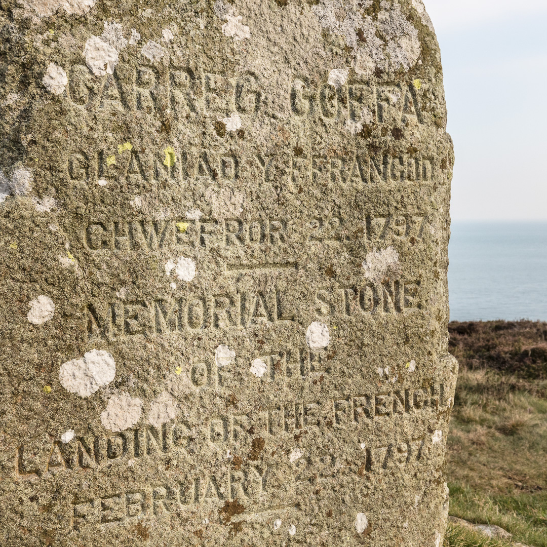 Carreg Goffa, a memorial stone erected in 1897 to commemorate the defeat of the last attempted invasion of Britain in 1797,  Pembrokeshire.