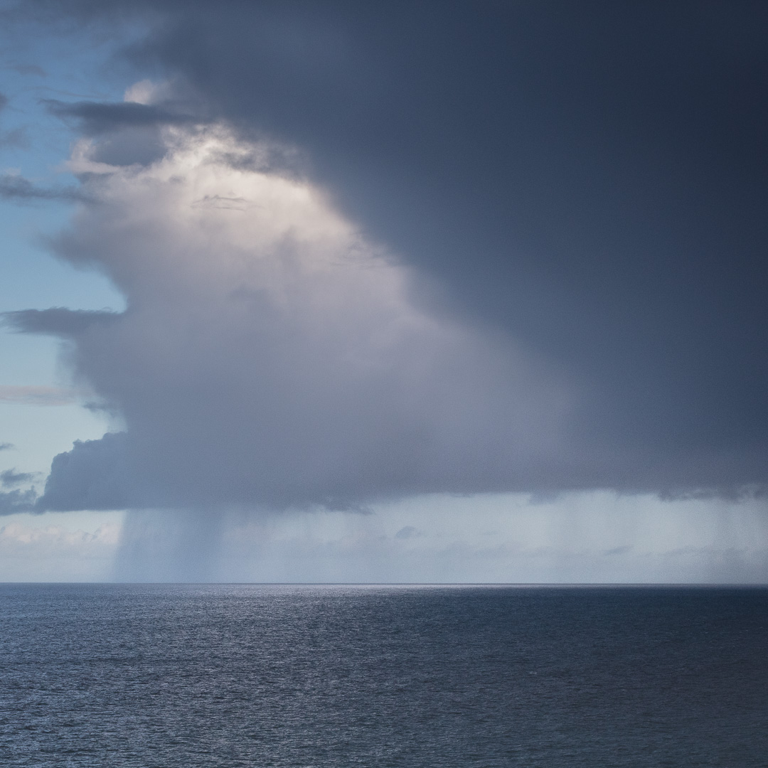 Hail shower over Cardigan bay, Pembrokeshire.