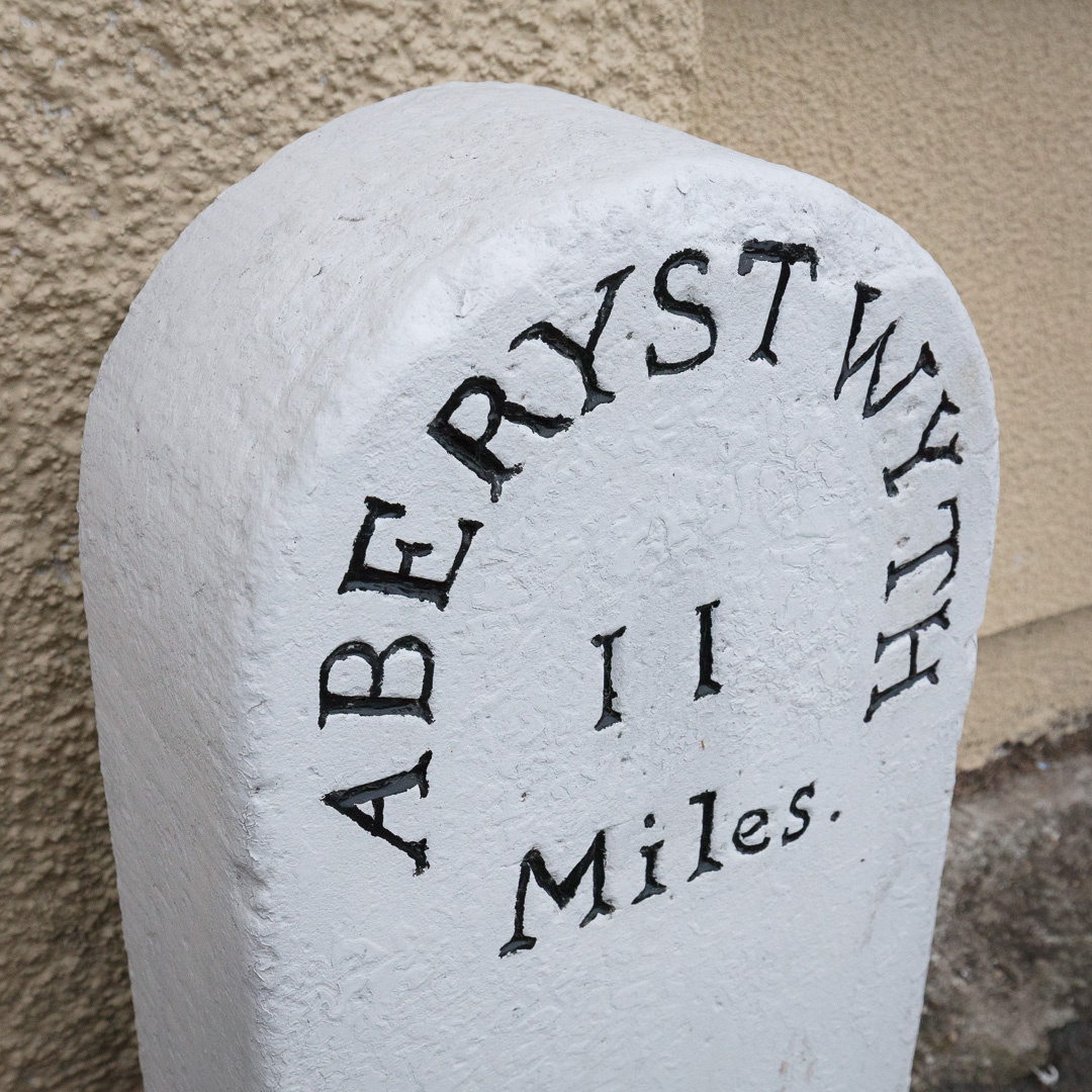 Mile post, Llanon, Ceredigion.